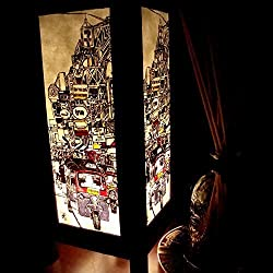 Tuk Tuk Walking Street Handmade Asian Oriental Wood Table Paper Gift Bedside Night Light Bulbs Bedroom Accessories Home Decor Living Room Bedside Homemade Art Garden Outdoor Floor Japanese Modern Vintage Christmas Desk Lamp; Free Adapter; Us 2 Pin Plug