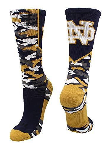 TCK Notre Dame Socks Fighting Irish Woodland Camo Crew (Blue/Gold, Small)