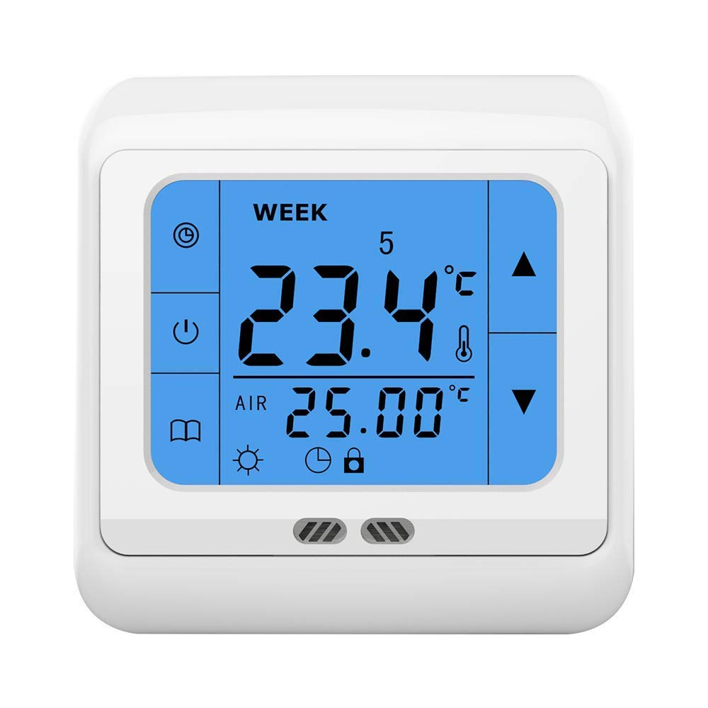 LICHIFIT 24V/AC Digital Weekly Programmable LCD Touch Screen Room Heating Thermostat Smart Room Temperature Controller for Water Radiator Heating System 24V/AC Gas Boiler Electric Valve Actuator BY