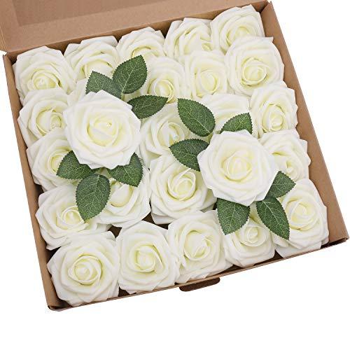(YSBER Roses Artificial Flowers - 25pcs Big PE Foam Rose Artificial Flower Head for DIY Wedding Bouquets Centerpieces Bridal Shower Party Home Decorations - White)