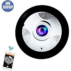 360 Home Surveillance Camera Wireless, Wifi Security System HD 2mp 1080P Panoramic View Monitoring, Motion Detected Night Vision Two Way Audio Wall And Ceiling Mount with 6 Feet Power Cable