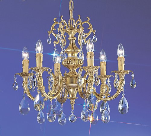Classic Lighting 5706 SBB S Princeton, Crystal Cast Brass, Chandelier, 24