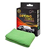 """Glis-10 Premium 25""""x40"""" Car Wash Microfiber Drying Towel, Waffle Weave Cloth for Auto Care Cleaning or Use With Washing Kit (1-pack) FREE eBook!"""