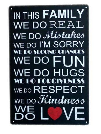 Love Family Quotes Metal Sign Tin Signs Retro Shabby Wall Plaque Metal Poster Plate 20x30cm Wall Art Coffee Shop Pub Bar Home Hotel Decor