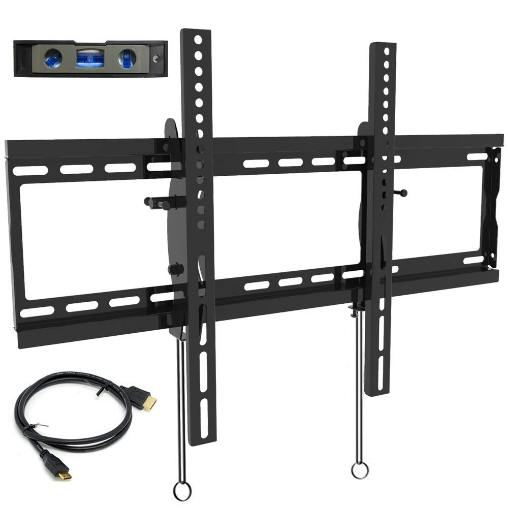 Everstone Tilt TV Wall Mount Bracket for Most 32-80 Inch LED,LCD,OLED,Plasma Flat Screen,Curved TVs,Low Profile,Up To VESA 600 x 400 and 165 LBS,Includes HDMI Cable and Level,Fits 16'',18'',24''Studs