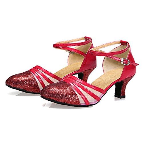 YFF Mujer de regalo zapatos de baile de salón latino baile Tango baile zapatos 5.5CM Red
