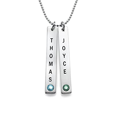 Engraved Vertical Heart in Heart Birthstone Pendant Necklace in Sterling Silver Personalised Custom Made with Any Name 7YDtWJFyt
