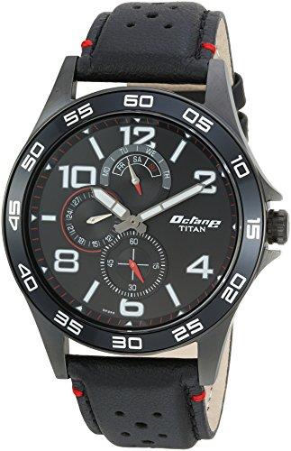 Titan Edge (Titan Men's 'Octane' Quartz Stainless Steel and Leather Casual Watch, Color:Black (Model: 1702NL01))