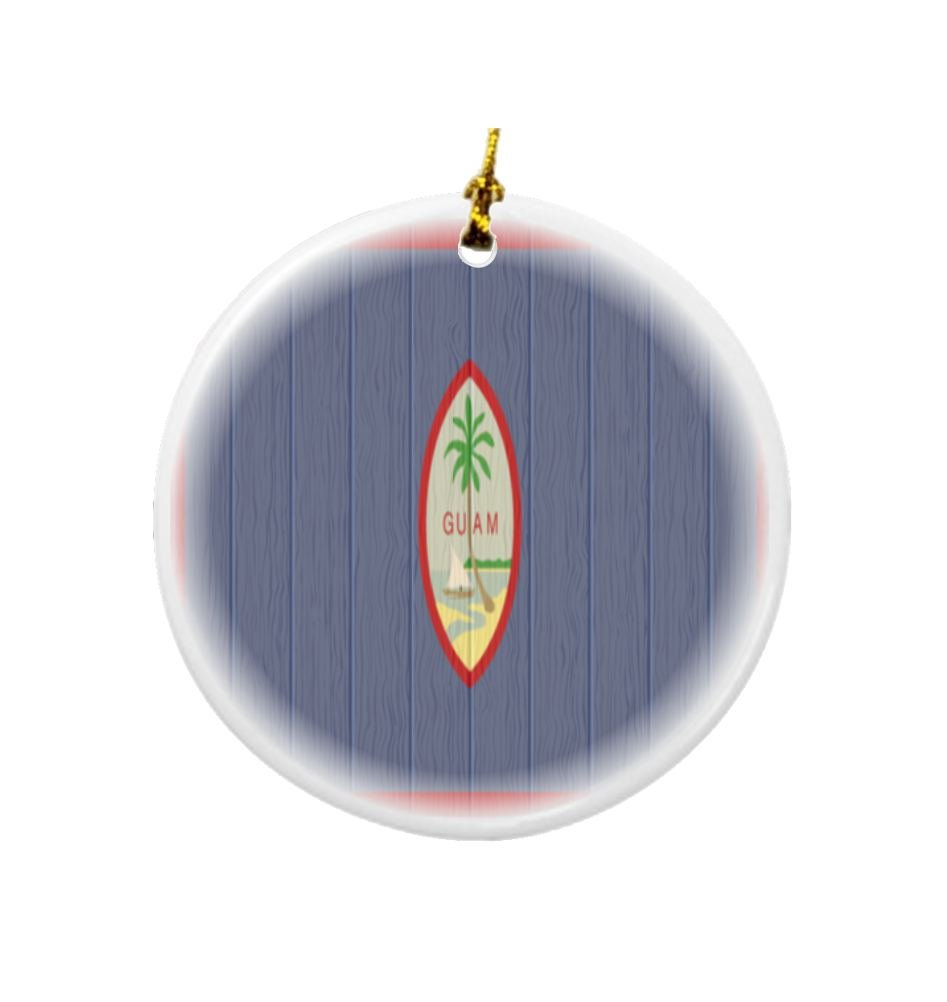 Rikki Knight Guam Flag on Distressed Wood Design Round Porcelain Two-Sided Christmas Ornaments