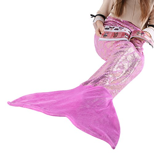 LANGRIA Mermaid Blanket Glittering Flannel Mermaid Tail Blankets for Girls Kids Teenagers Adults Super Soft Warm Lightweight in Living Room Bedroom All Seasons (60''X25'', Purple)