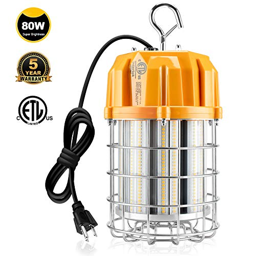 LED Temporary Work Light, 80W Portable Construction Drop Lighting Fixture 350W MH Equiv. 5000K 11,600LM with Hook Sturdy Protective Guard US Plug for High Bay Workshop Garage Job Sites 100-277VAC ETL