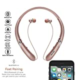 Bluetooth Headphones Retractable Earbuds Neckband Wireless Headset Sport Sweatproof Earphones with Mic for iPhone Android Cellphone (Bluetooth 4.1,Noise Cancelling , 14 Hours Play Time) (Rose Gold)