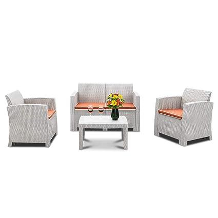 Amazon.com: Bonnlo Juego de 4 piezas de muebles de patio ...