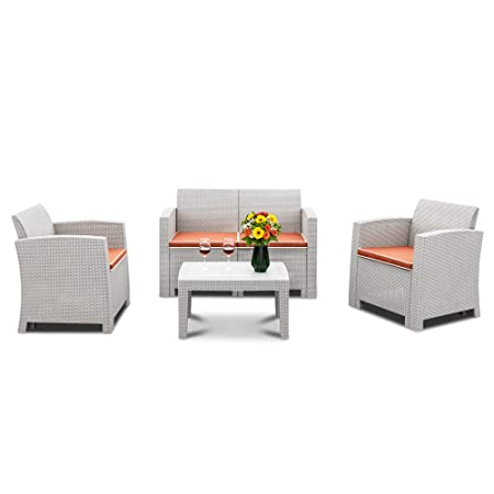 Bonnlo 4 Piece Patio Furniture Set, Rattan Table Chair Set, Conversation Set with Removable Cushion Outdoor Indoor Use Sectional Yard Furniture Set, Simple Assembly Tools Free Grey