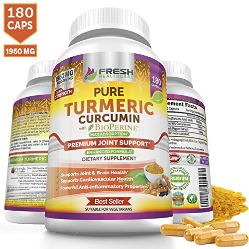 Turmeric Curcumin Max Potency 1950mg with 95% Curcuminoids Extract - 180 Capsules - Bioperine Black Pepper for Best Absorption and Anti Inflammatory Joint Support and Pain Relief Vegan Supplement