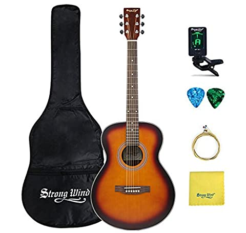 Professional Acoustic Guitar Bundle, Strong Wind 41 inch Full Size Dreadnought 6 Steel String Acoustic Guitar with Gig Bag, Tuner, Guita Capo, Extra Strings, Picks, Polishing cloth (Professional Guitar Tuner)