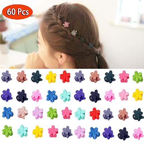 (Pinklover Women Girl Kids Mini Hair Claw Clips Flower Hair Bangs Pin Kids Hair Accessories Clips (Pack of 60))