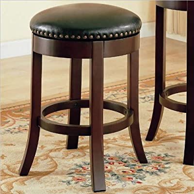 Coaster Home Furnishings Backless Counter Stool with Faux Leather Seats, 24-Inch, Cherry, Set of 2