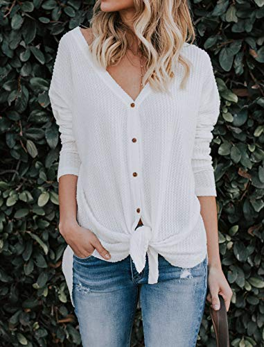 IWOLLENCE Womens Loose Henley Blouse Bat Wing Long Sleeve Button Down T Shirts Tie Front Knot Tops White S by IWOLLENCE (Image #2)