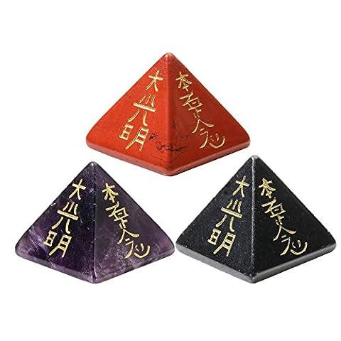 QGEM 3pcs Usui Reiki Pyramid Spiritual Healing Crystal w/ Etched Reiki Symbols~Amethyst+Red Jasper+Obsidian