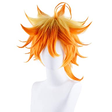 2019 Anime The Promised Neverland Emma Cosplay Wigs Short Orange Curly Party Hair Halloween Costume Accessories