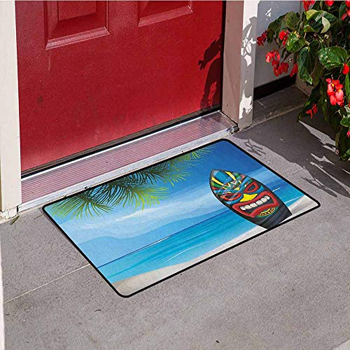 Mask 40' Tiki Bar Decor - Gloria Johnson Tiki Bar Bath Mat Inlet Outdoor Door mat Tiki Warrior Mask Design Surfboard on Ocean Beach Abstract Landscape Surf Print Catch dust Snow and mud W23.6 x L35.4 Inch