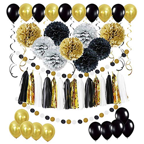 (Cieovo Tissue Paper, 60 pcs Party Decorations, Pom Poms Flowers, Tissue Tassel Garland, Latex Balloons, Swirl Spiral Ceiling Hanging Decor, Polka Dot Garland Kit for Wedding Birthday Party Festival Decorations)