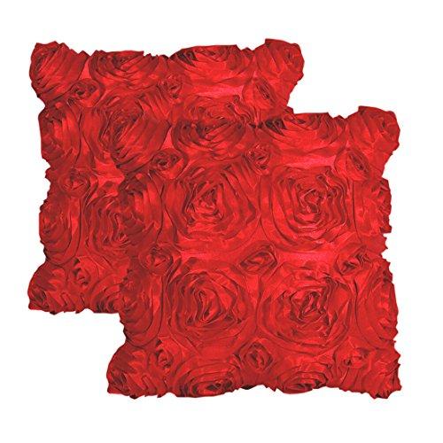 E'Plaza 2pcs New Red 3D Raised Ribbon Roses Cushion Covers T