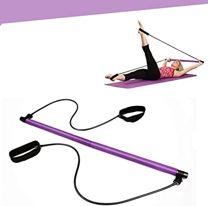 Sit-Up Bar for Home Gym Workout Equipment for Home Pilates Bar Stretch Sculpt Yoga Twist Pilates Reformer Bar Portable Pilates Bar Kit with Resistance Band Pilates Exercise Stick Fitness