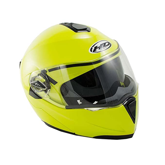 Motorcycle Street Bike Dual Visor Shields Full Face Flip up Helmet DOT (M, Lime Green)