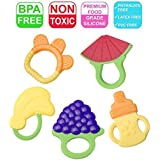 Baby Teething Toys Soft Teether Toys Best Infant & Toddler Teething Pain Relief- Non-Toxic,100% Safe BPA Free Fruit Teethers Fruity Chews Ring Teethers 3 Months Plus (5Pcs)