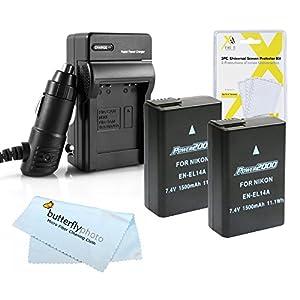 2 Pack Battery and Charger Kit For Nikon D5500, D5300, D3300, D5200, D5100, D3100, D3200, Nikon Df, P7700 Digital SLR Camera Includes 2 Replacement Nikon EN-EL14a, EN-EL14 Batteries (Fully Decoded)