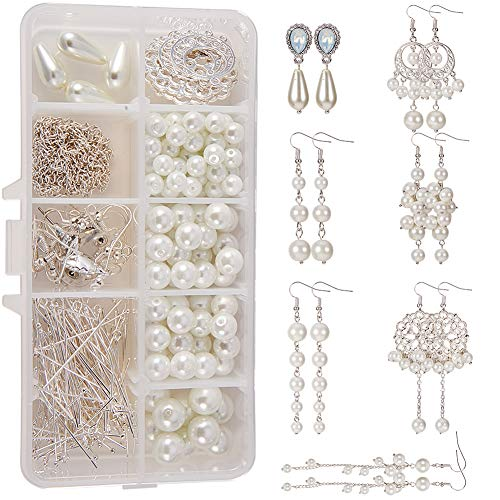 SUNNYCLUE 1 Box DIY 8 Pairs White Pearl Drop Dangle Long Earring Making Starter Kit Pearls Ball Jewelry Supplies Craft Set for Beginners Women Girls