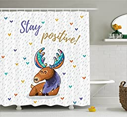 Moose Shower Curtain Set by Ambesonne, Quote \