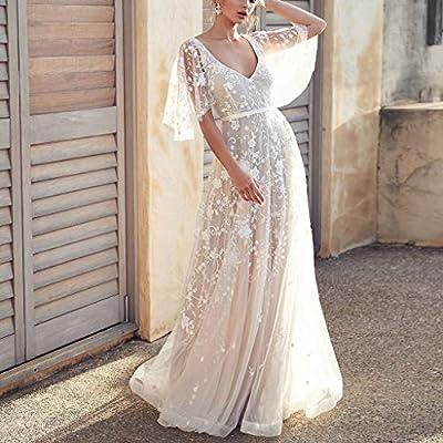 c2e2b1045cd OWMEOT Women s Bohemian Wedding Dresses Lace Bridal Gown Backless ...