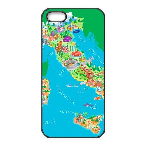 Italy Map 001 coque iPhone 5 5S cellulaire cas coque de téléphone cas téléphone cellulaire noir couvercle EOKXLLNCD24633