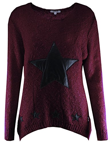 Star PU Leather Patches Knit Sweater Burgundy S/M Size