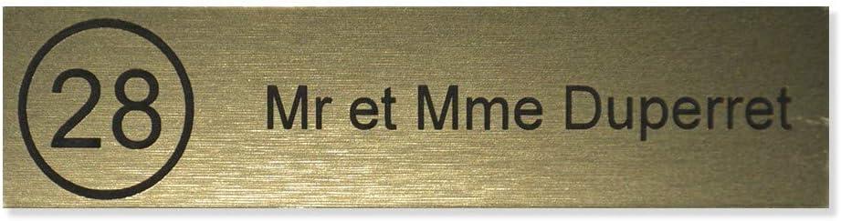 Plaque boite aux lettres NUMERO format Edelen 99x24mm effet bois clair lettres noires 2 lignes