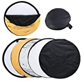 Andoer 24-Inch 60cm 5 in 1(Gold, Silver, White, Black and Translucent) Portable Photography Studio Multi Photo Disc Collapsible Light Reflector (Photography accessories) (Collapsible)