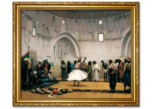 The Whirling Dervishes, 1899. Reproduction of an Oriental painting by Jean Leon Gerome. Faux Canvas Frame