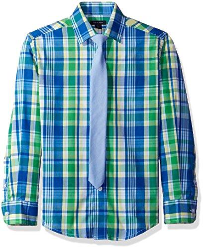 Tommy Hilfiger Big Boys' Stretch Plaid Shirt with Straight Tie, Bright Green, 16