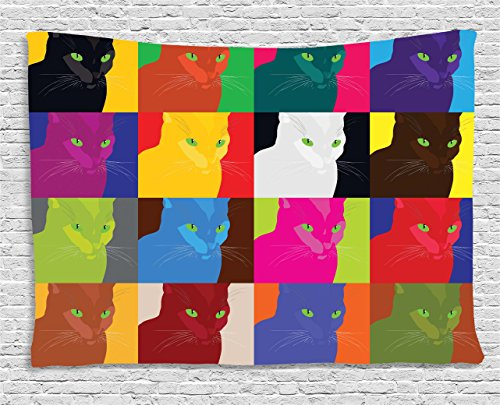 Ambesonne Cat Decor Tapestry by, Pop Art Style Featured Fractal Kitty Portraits Frame with Color Effects Artsy Print, Wall Hanging for Bedroom Living Room Dorm, 80WX60L Inches, Multi