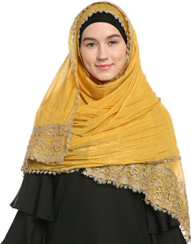 Ababalaya Lace Decorated Wedding Hijab Islamic Hijab (Yellow)