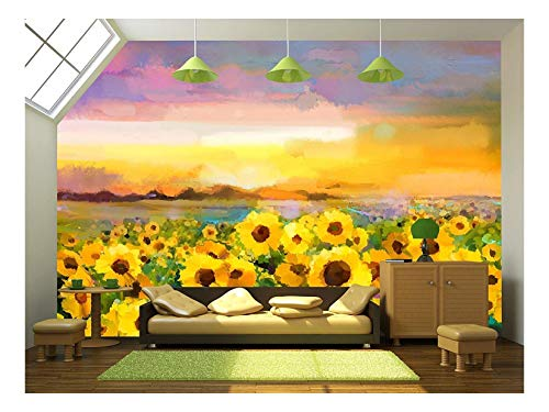 wall26 - Oil Painting Yellow- Golden Sunflower, Daisy Flowers in Fields. - Removable Wall Mural | Self-Adhesive Large Wallpaper - 100x144 inches ()