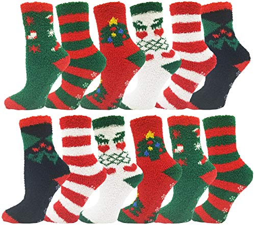 Womens Christmas Socks, 12 Pairs, Holiday Xmas Gift, Novelty Colorful Patterns (12 Pairs Fuzzy Socks with Gripper Bottom)