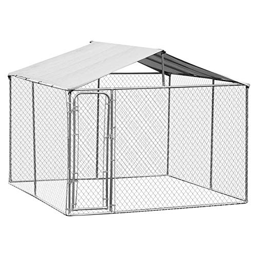 PawHut 10' x 10' x 6' Outdoor Chain Link Box Kennel Dog House with Cover - Silver (Cheap Chain Link Dog Kennels For Sale)