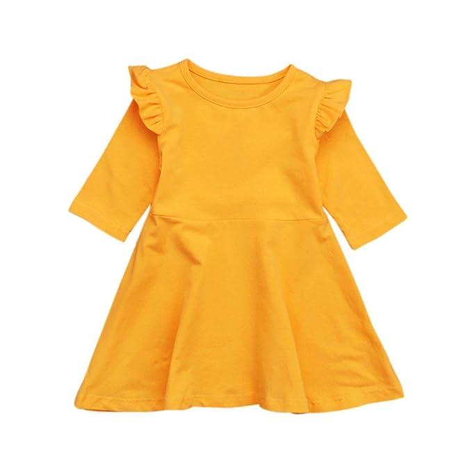 Hongyuangl Vestido de Niña de Cuello Redondo de Color Sólido de Primavera y Otoño, Color Amarillo para Niños: Amazon.es: Ropa y accesorios