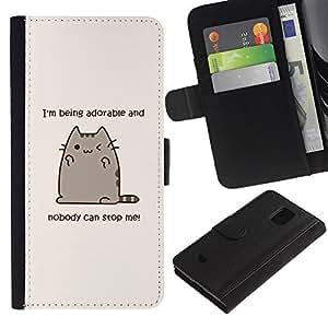 A-type (Adorable Cat Quote Funny Drawing Kitten) Colorida Impresión Funda Cuero Monedero Caja Bolsa Cubierta Caja Piel Card Slots Para Samsung Galaxy S5 Mini (Not S5), SM-G800