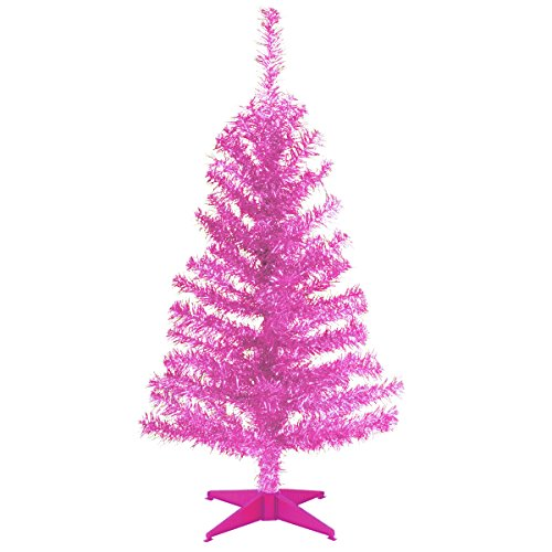 National Tree 3 Foot Pink Tinsel Tree with Plastic Stand (TT33-706-30-1)
