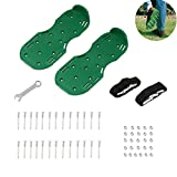 Leagway Upgraded Lawn Aerator Shoes, Aerating Lawn Soil Sandals with Aluminium Alloy Buckles, 3 Adjustable Straps, Heavy Duty Spiked Sandals for Aerating Your Lawn or Yard, One Size Fits All (Green)